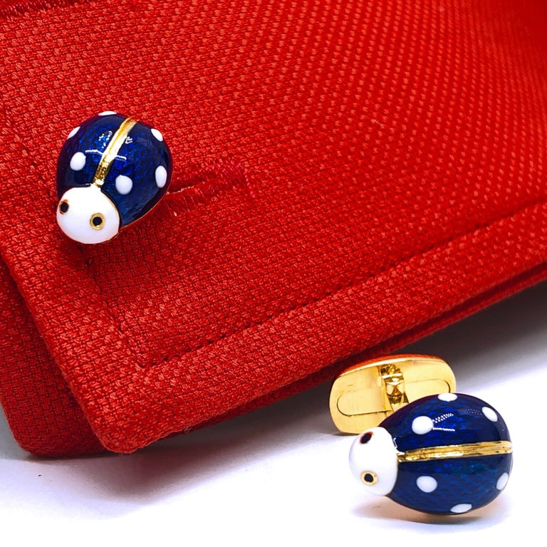 Enameled Ladybug Shaped T-Bar Back Sterling Silver Gold-Plated Cufflinks For Sale 7