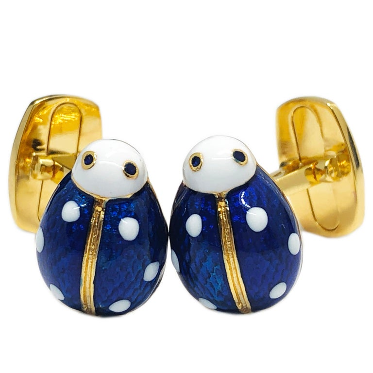 Chic White and Blue Hand Enameled Little Ladybug Shaped T-Bar Back, Sterling Silver Gold Plated Cufflinks. In our smart Black Box and Pouch.