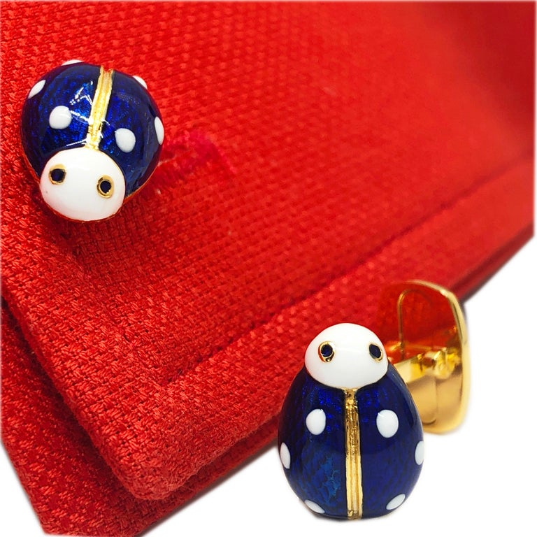Contemporary Hand Enameled Ladybug Shaped T-Bar Back Sterling Silver Gold-Plated Cufflinks For Sale