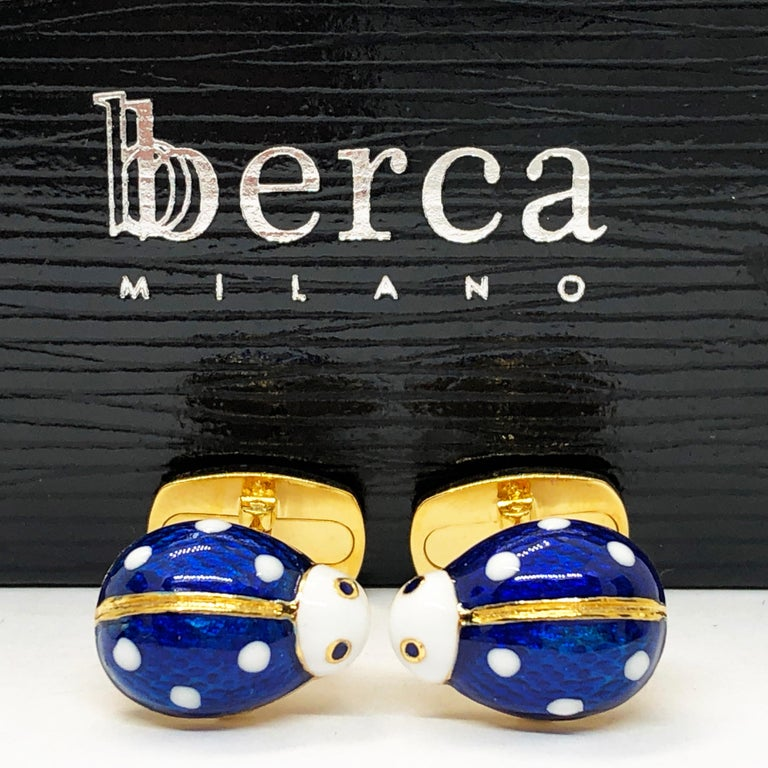 Enameled Ladybug Shaped T-Bar Back Sterling Silver Gold-Plated Cufflinks In New Condition For Sale In Valenza, IT