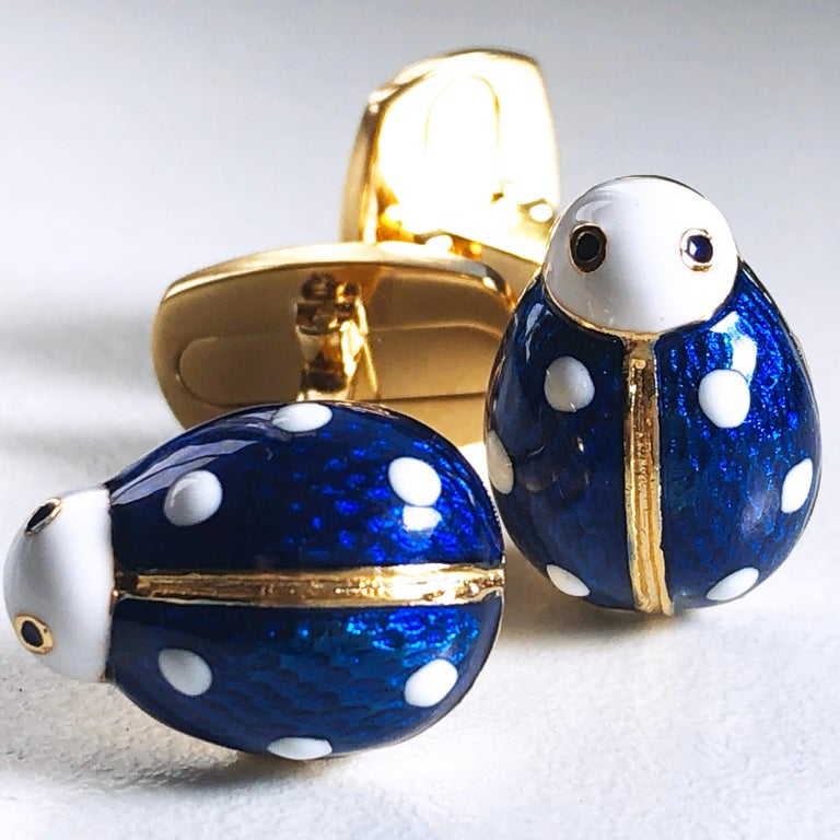 Men's Hand Enameled Ladybug Shaped T-Bar Back Sterling Silver Gold-Plated Cufflinks For Sale