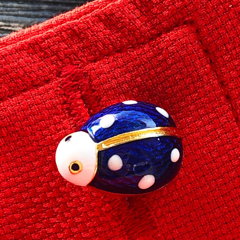 Hand Enameled Ladybug Shaped T-Bar Back Sterling Silver Gold-Plated Cufflinks For Sale 1