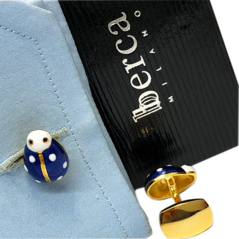 Hand Enameled Ladybug Shaped T-Bar Back Sterling Silver Gold-Plated Cufflinks For Sale 2