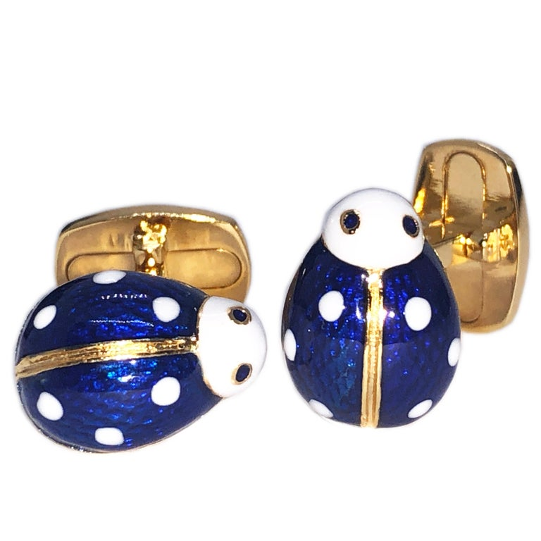 Hand Enameled Ladybug Shaped T-Bar Back Sterling Silver Gold-Plated Cufflinks For Sale 3