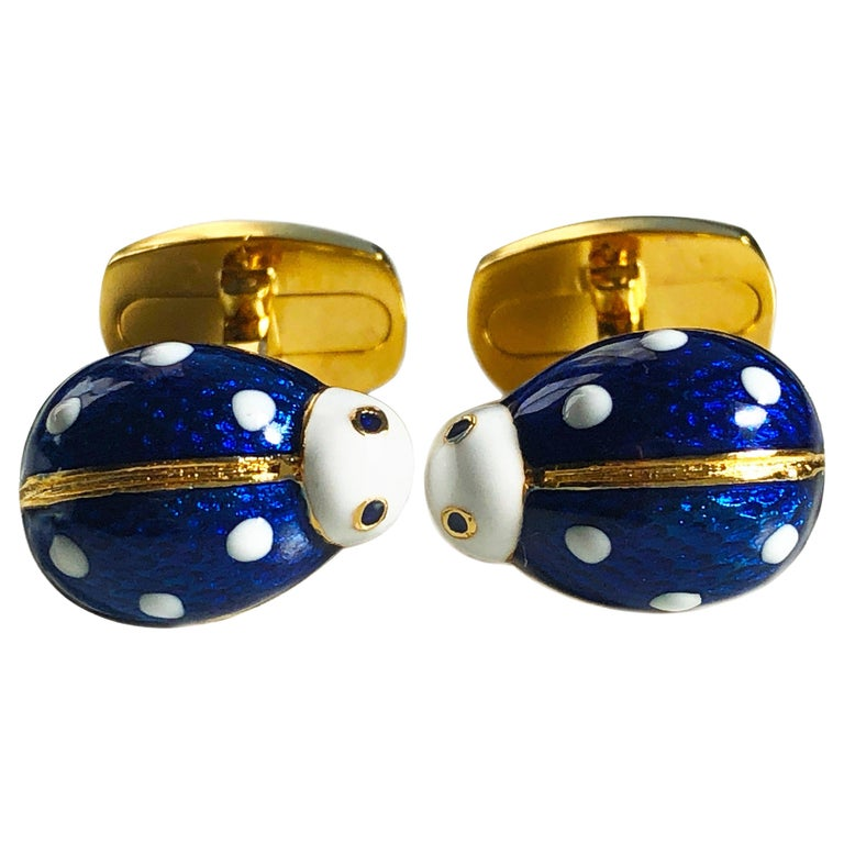 Hand Enameled Ladybug Shaped T-Bar Back Sterling Silver Gold-Plated Cufflinks For Sale