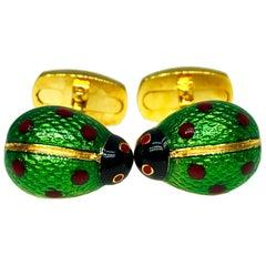 Hand Enameled Ladybug Shaped T-Bar Back Sterling Silver Gold-Plated Cufflinks