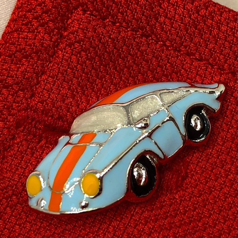Hand Enameled Le Man's Racing Color 911 Porsche Shaped Sterling Silver Cufflinks For Sale 5