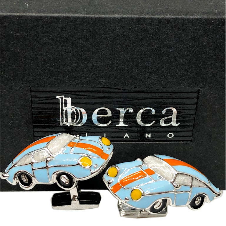 1970 Legendary Hand Enameled Le Mans Racing Color 911 Porsche Shaped T-Bar Back Sterling Silver Unique Cufflinks. In our smart Black Box and Pouch.
