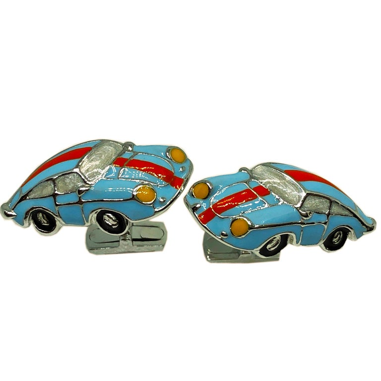 Contemporary Hand Enameled Le Man's Racing Color 911 Porsche Shaped Sterling Silver Cufflinks For Sale