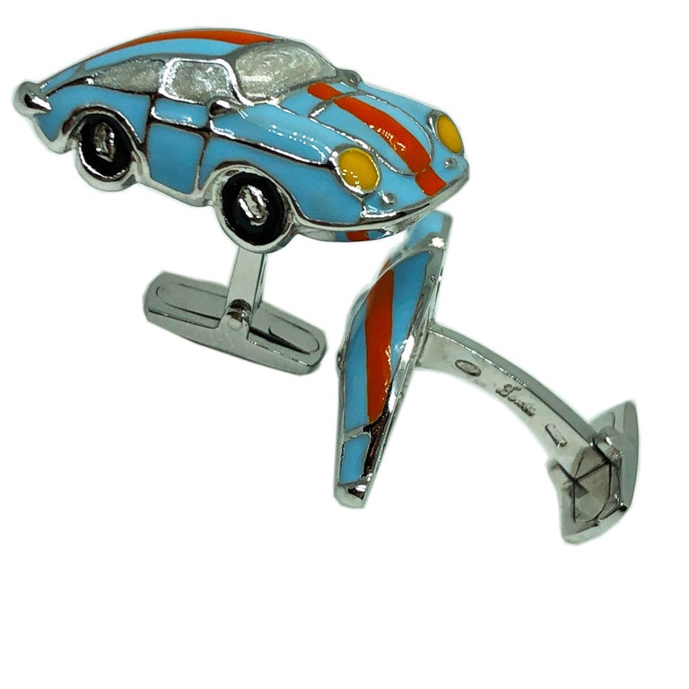 Hand Enameled Le Man's Racing Color 911 Porsche Shaped Sterling Silver Cufflinks In New Condition For Sale In Valenza, IT