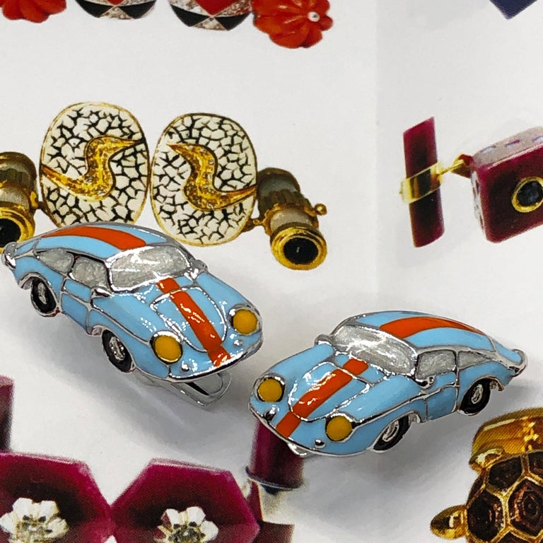 Men's Hand Enameled Le Man's Racing Color 911 Porsche Shaped Sterling Silver Cufflinks For Sale