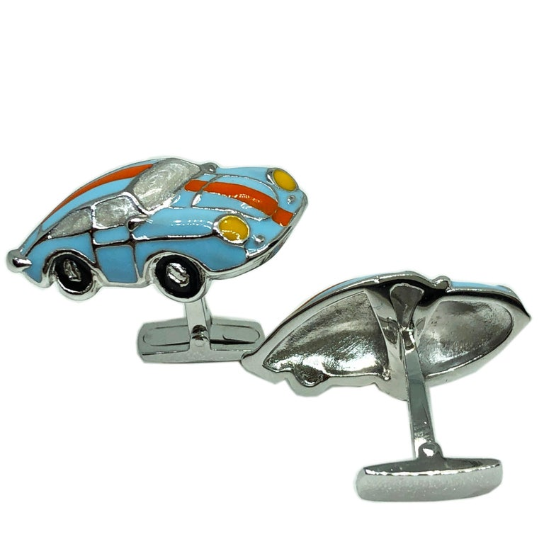 Hand Enameled Le Man's Racing Color 911 Porsche Shaped Sterling Silver Cufflinks For Sale 1