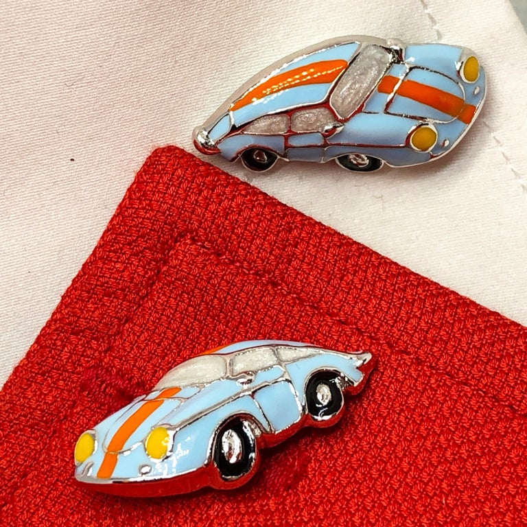 Hand Enameled Le Man's Racing Color 911 Porsche Shaped Sterling Silver Cufflinks For Sale 3