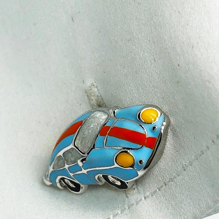 Hand Enameled Le Man's Racing Color 911 Porsche Shaped Sterling Silver Cufflinks For Sale 4