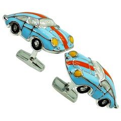 Hand Enameled Le Man's Racing Color 911 Porsche Shaped Sterling Silver Cufflinks