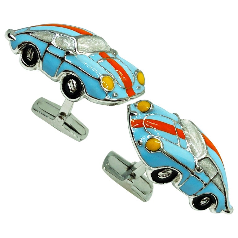 Hand Enameled Le Man's Racing Color 911 Porsche Shaped Sterling Silver Cufflinks For Sale