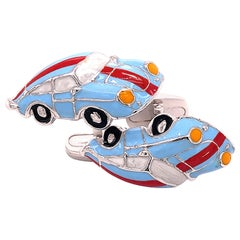 Berca Enameled Le Man's Racing Color 911Porsche Shaped Sterling Silver Cufflinks