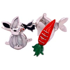 Hand Enameled Little Bunny Shaped Carrot Back Sterling Silver Cufflinks