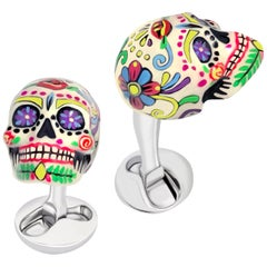 Hand-enameled Mexican Skulls Cufflinks in Sterling Silver by Fils Unique
