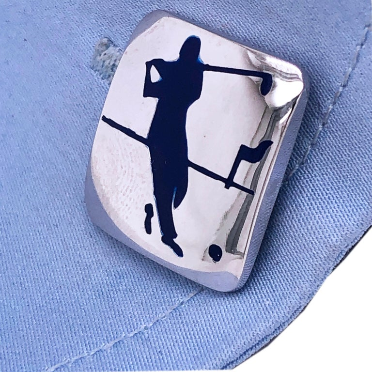 Berca Navy Blue Enameled Golf Player Little Ball Solid Sterling Silver Cufflinks For Sale 5