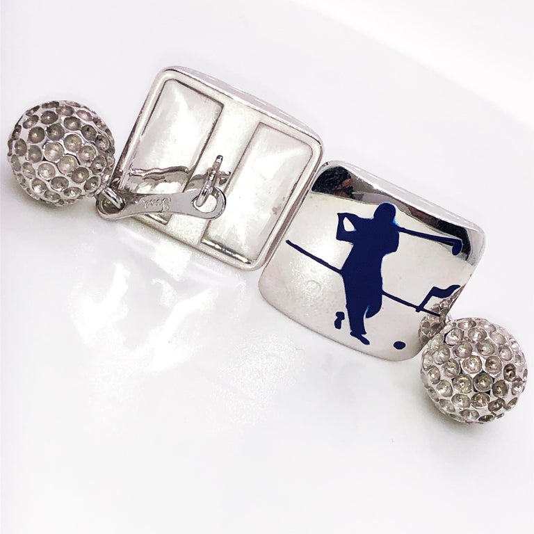 Contemporary Berca Navy Blue Enameled Golf Player Little Ball Solid Sterling Silver Cufflinks For Sale
