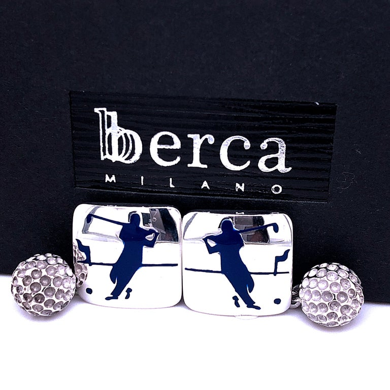 Berca Navy Blue Enameled Golf Player Little Ball Solid Sterling Silver Cufflinks In New Condition For Sale In Valenza, IT