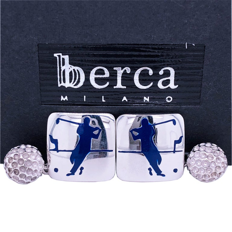Berca Navy Blue Enameled Golf Player Little Ball Solid Sterling Silver Cufflinks For Sale 2