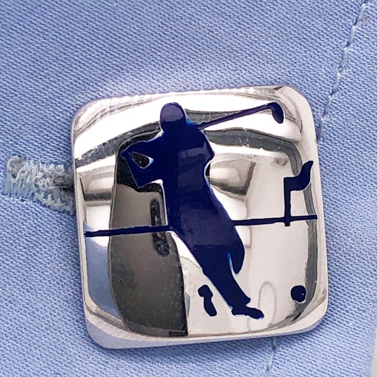 Berca Navy Blue Enameled Golf Player Little Ball Solid Sterling Silver Cufflinks For Sale 4