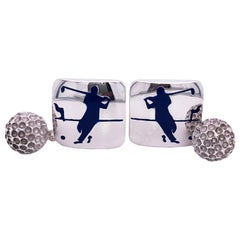 Hand Enameled Navy Blue Golf Player Little Ball Solid Sterling Silver Cufflinks