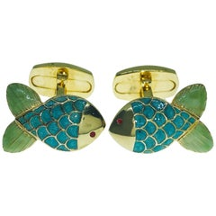 Hand Enamelled Little Fish Shaped Sterling Silver Gold Plated Cufflinks