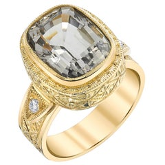 Hand Engraved, Bezel Set Topaz and Diamond 18 Karat Yellow Gold Ring