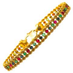 Hand Engraved Bracelet with Emeralds Rubies Sapphires 18 Karat Gold