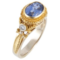 Hand Engraved Ceylon Blue Sapphire and Diamond Ring Set in 18 Karat Gold