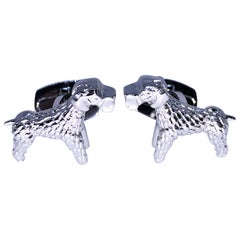 Berca Hand Engraved Little Hound Shaped T-Bar Back Sterling Silver Cufflinks
