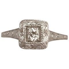 Hand-Engraved Old Mine Cut Diamond Ring 14 Karat White Gold