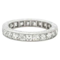 Hand Engraved Platinum and 4.0 Carat French Cut Diamond Eternity Ring