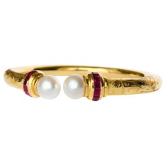 Hand Engraved Yellow Gold Open Bangle Bracelet with Pearls and Rubis