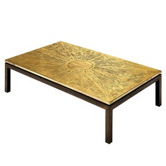 Hand-Etched Belgian Coffee Table in Brass