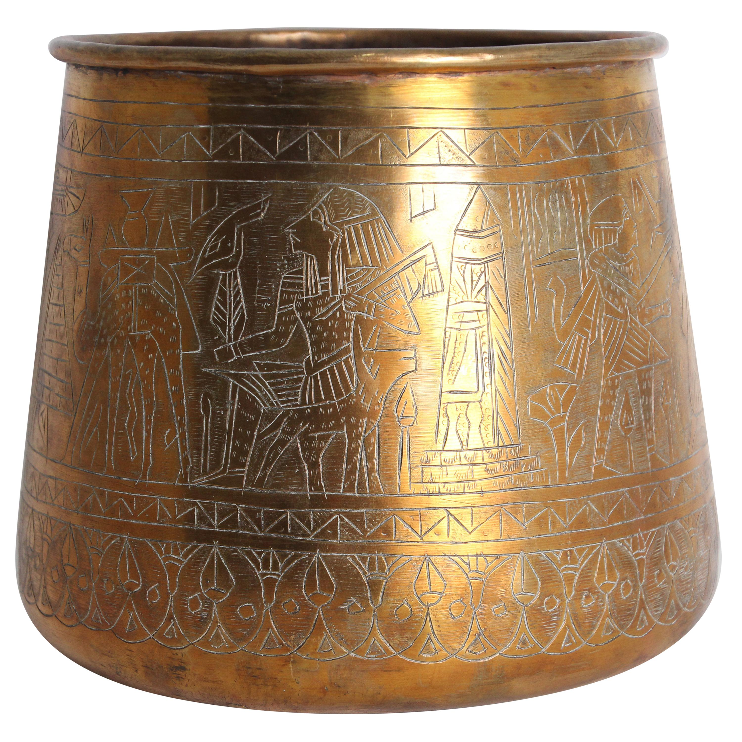 Hand Etched Egyptian Brass Vessel Jardiniere, 19th Century