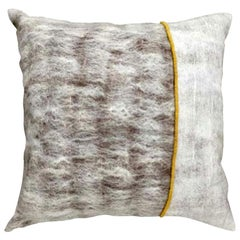 Hand Felted Reversible Silk and Wool Pillow with Marigold Colored Trim, in Stock
