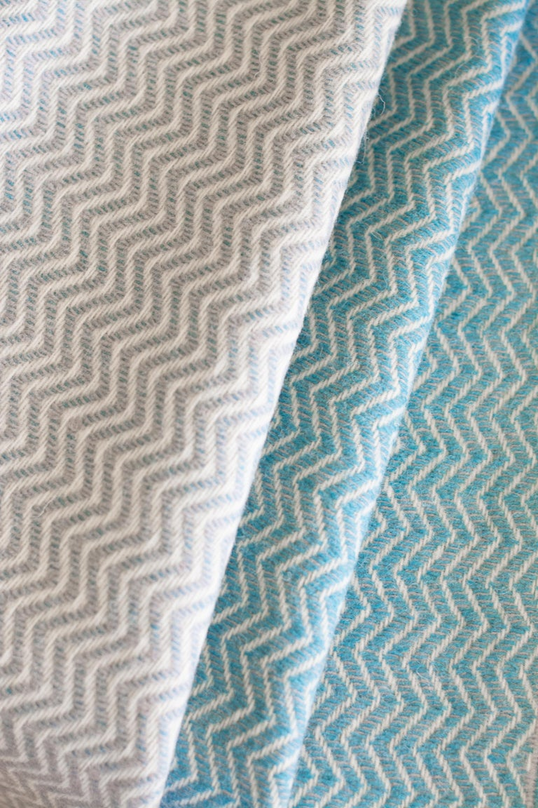 Hand Finished Organic Wool Blanket/Throw in Light Grey Wave Made Portugal For Sale 8