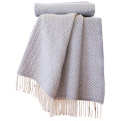 Hand Finished Organic Wool Blanket/Throw in Light Grey Wave Made Portugal