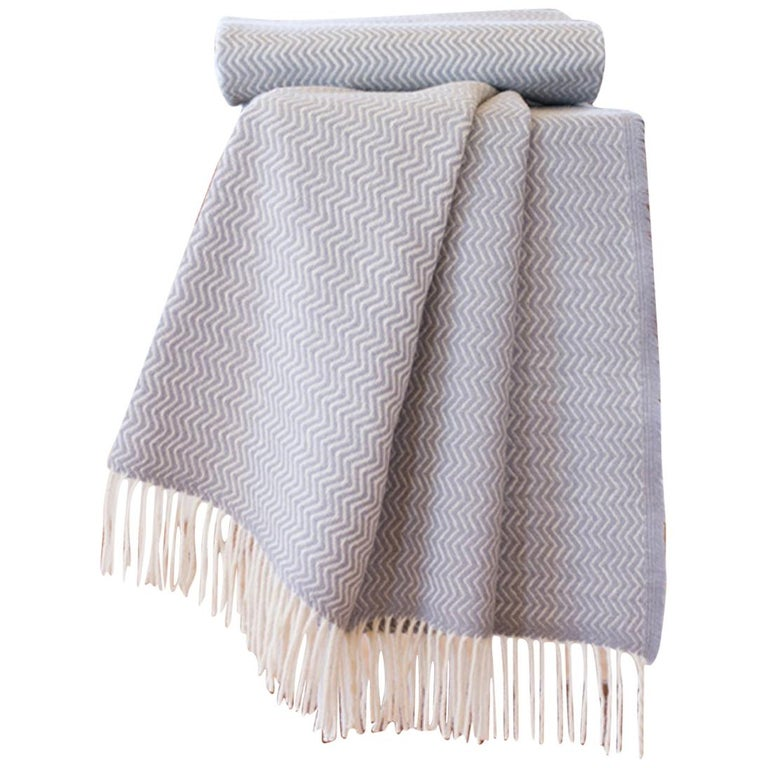 Hand Finished Organic Wool Blanket/Throw in Light Grey Wave Made Portugal For Sale