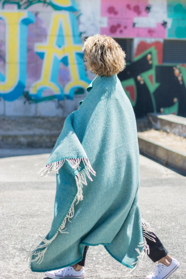 Hand Finished Organic Wool Blanket/Throw in Turquoise Wave Pattern Made Portugal For Sale 8
