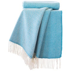 Hand Finished Organic Wool Blanket/Throw in Turquoise Wave Pattern Made Portugal
