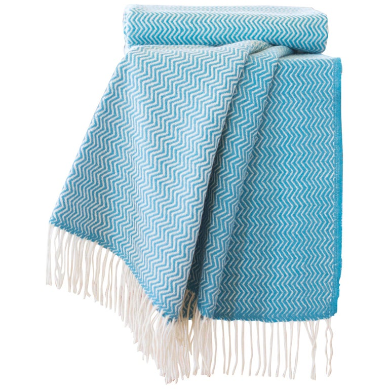 Hand Finished Organic Wool Blanket/Throw in Turquoise Wave Pattern Made Portugal For Sale