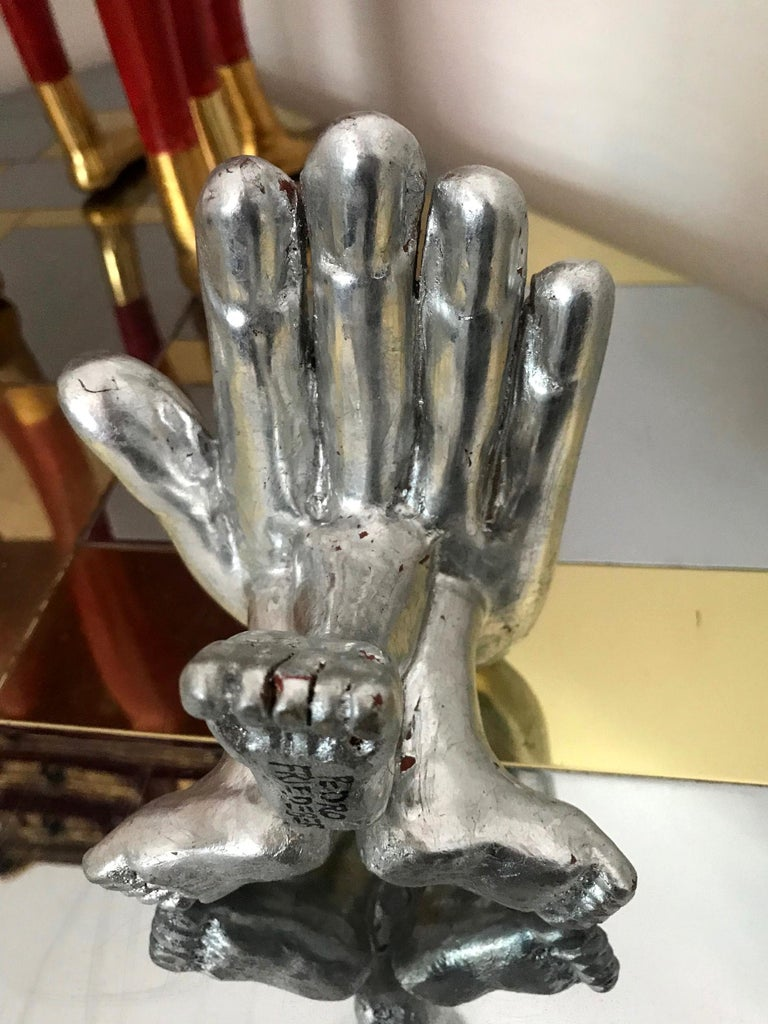 Silver Leaf Hand Foot Chair Sculpture Pedro Friedeberg For Sale