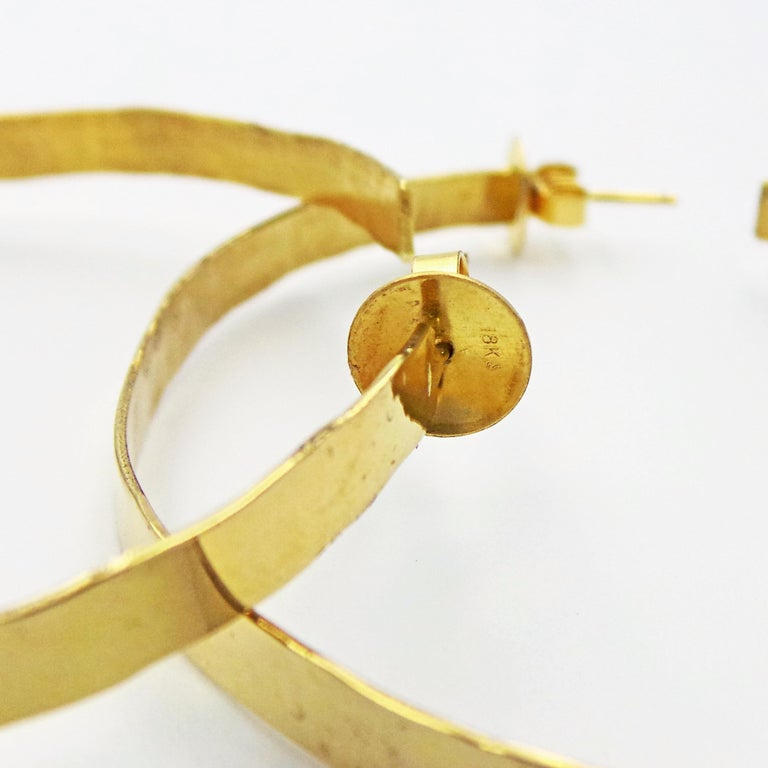 Women's Hand Forged 18 Karat Yellow Gold Hammered Hoop Earrings For Sale