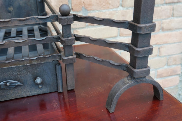 Hand Forged Arts & Crafts Era Wrought Iron Fireplace with Dragon Sculpture & Ash For Sale 6