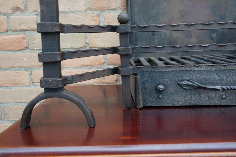 Hand Forged Arts & Crafts Era Wrought Iron Fireplace with Dragon Sculpture & Ash For Sale 7